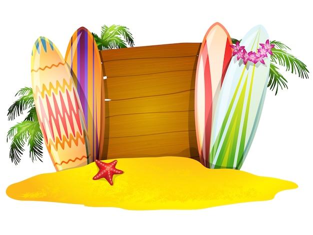 Cartel de vacaciones de verano tablas de surf estrellas de mar