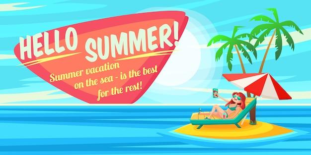 Cartel de vacaciones de verano.