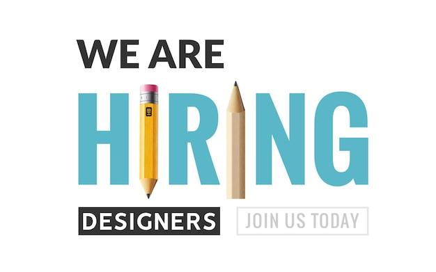 Cartel de vacante de diseñador gráfico de contratación. la contratación de un diseñador gráfico de trabajo quería un diseño de banner de ilustración vectorial creativa