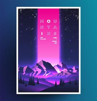 Cartel de vaporwave de montañas de noche