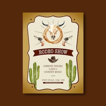 Cartel de vaquero con cráneo de vaca, cactus, sombrero