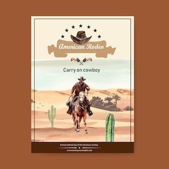 Cartel de vaquero con rodeo americano