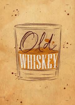 Cartel de vaso de whisky con letras de whisky antiguo kraft