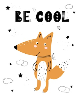 Cartel de vector con animal lindo de dibujos animados para niños y lema divertido en estilo escandinavo