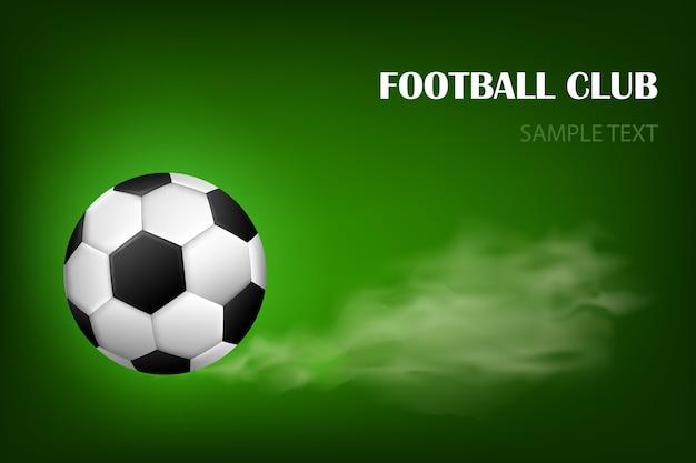 Cartel de vector de balón de fútbol llameante para el juego deportivo de fútbol. balón de fútbol volador con desenfoque de movimiento brillo
