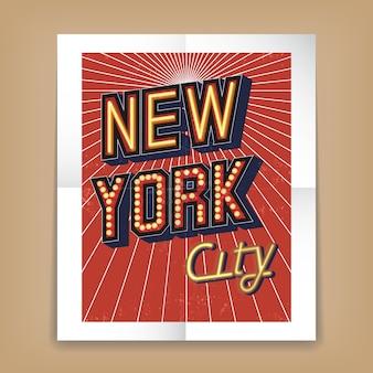 Cartel de vector de la ciudad de nueva york con fuentes de texto en forma de letreros eléctricos o de neón
