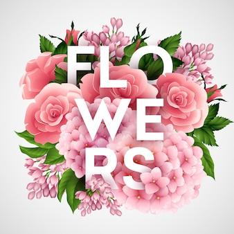 Cartel de vector elegante con hermosas flores