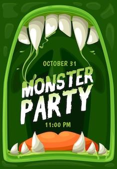Cartel de vector de fiesta de monstruo de halloween con marco de boca de zombie de terror, mandíbulas con dientes de miedo, colmillos, lengua y gotas de limo verde. diseño de volante de invitación de fiesta de truco o trato de noche de terror