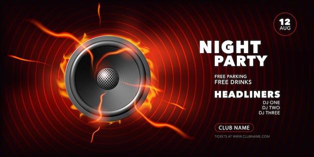 Cartel de vector de fiesta nocturna, ilustración con altavoz de sonido. banner de plantilla con información del evento, nombres de dj, lugar para el evento