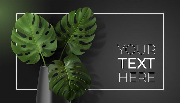 Cartel de vector con hojas verdes tropicales monstera en florero sobre fondo oscuro