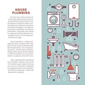 Cartel de vector de plomería de la casa