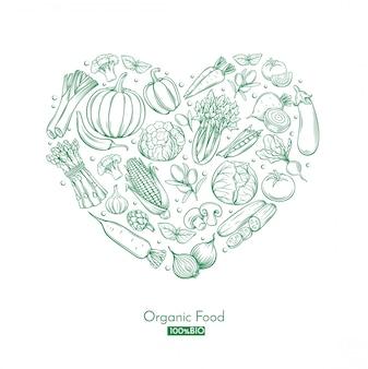 Cartel con vegetales dibujados a mano