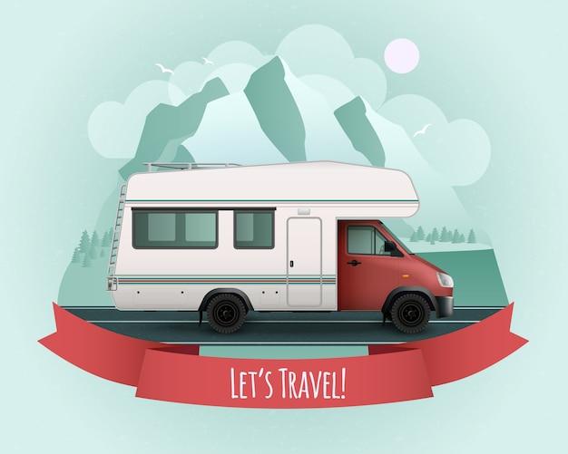 Cartel de vehículo recreativo coloreado con cinta roja y descripción de viaje de s
