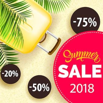 Cartel de veinte dieciocho años de venta de verano con hojas de palma, bolsa de viaje amarilla y pegatinas de descuento