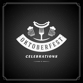 Cartel de la vendimia oktoberfest o tarjeta de felicitación