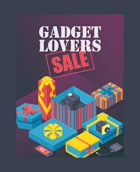 Cartel de venta de amantes de gadgets regalos caros en cajas decorativas