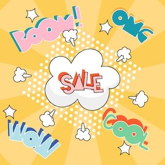 Cartel de venta de arte pop amarillo. la ilustración moderna de la muestra de la venta y el texto burbujean alrededor. carta de colores vibrantes.
