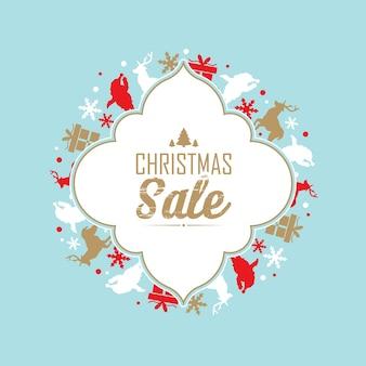 Cartel de venta y celebración navideña con texto sobre descuentos en el centro del marco decorativo
