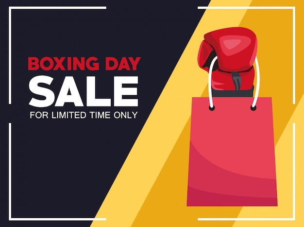 Cartel de venta del día del boxeo con guante y bolso de compras