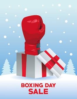 Cartel de venta del día de boxeo con guante en diseño de ilustración vectorial de regalo