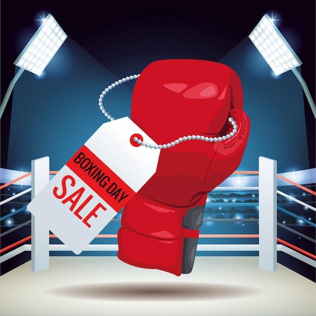 Cartel de venta del día del boxeo con guante y etiqueta