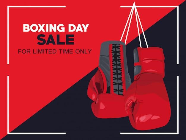 Cartel de venta del día del boxeo con guantes, diseño de ilustraciones vectoriales