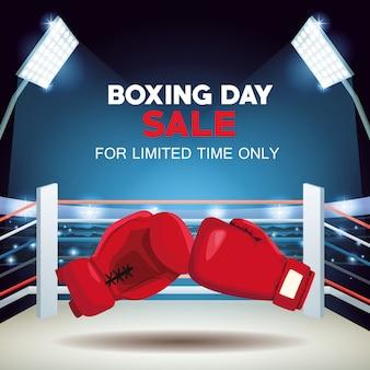 Cartel de venta del día del boxeo con guantes