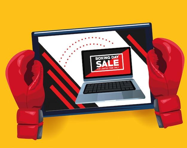 Cartel de venta del día del boxeo con laptop y guantes, diseño de ilustraciones vectoriales