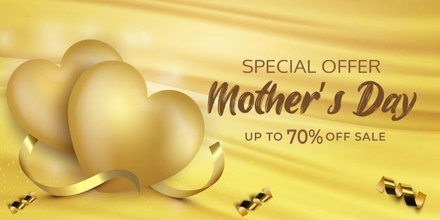 Cartel de venta del día de las madres o pancarta con corazones dulces sobre fondo dorado