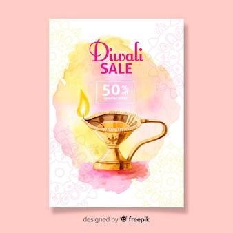 Cartel de venta de diwali de acuarela de plantilla