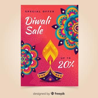 Cartel de venta de diwali dibujado a mano de plantilla
