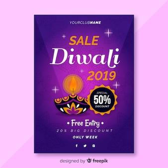 Cartel de venta de diwali de diseño plano