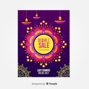 Cartel de venta diwali plano con velas