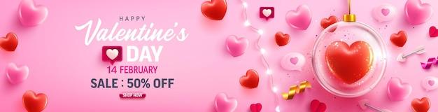 Cartel de venta de feliz día de san valentín o pancarta con corazón dulce, luces de cadena led y elementos de san valentín en rosa. promoción y plantilla de compras para el amor y el concepto de día de san valentín.