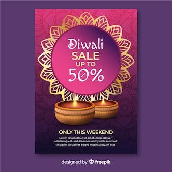 Cartel de venta de festival de diwali de diseño plano