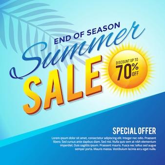 Cartel de venta de fin de temporada de verano