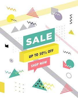 Cartel de venta con fondo de súper venta de formas geométricas en estilo retro memphis de los años 80 de los 90