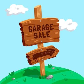 Cartel de venta de garaje de dibujos animados