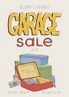 Cartel de venta de garaje, invitación al evento. mano dibuja la ilustración colorida con productos antiguos. cámara, teléfono, caja.