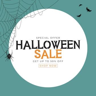 Cartel de venta de halloween azul con murciélago y araña. ilustración vectorial eps10