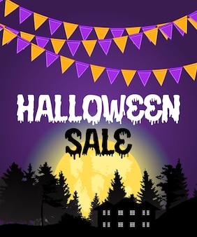 Cartel de venta de halloween con banderas y guirnaldas sobre fondo morado. ilustración vectorial eps10