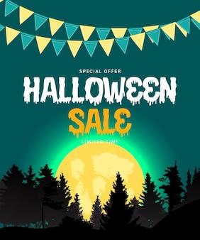 Cartel de venta de halloween con globos sobre fondo verde. ilustración vectorial eps10