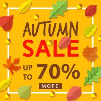 Cartel de venta de hojas de otoño