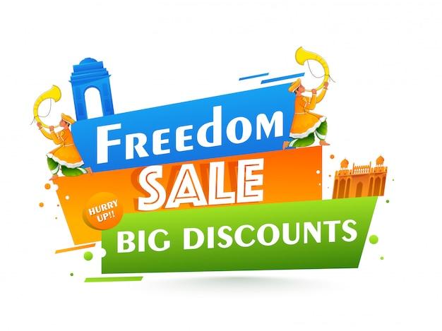 Cartel de venta de libertad con gran oferta de descuento, monumentos famosos de la india y hombres soplando el cuerno de tutari sobre fondo blanco.