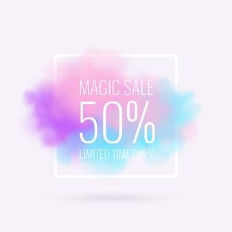 Cartel de venta mágica con nubes realistas.