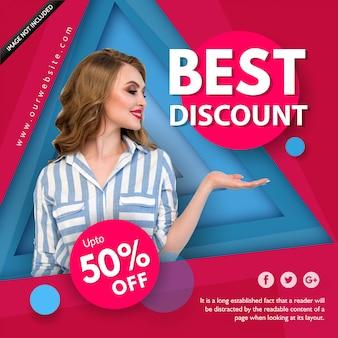 Cartel de venta de moda azul y rosa