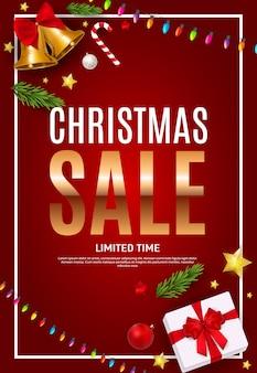 Cartel de venta de navidad y año nuevo