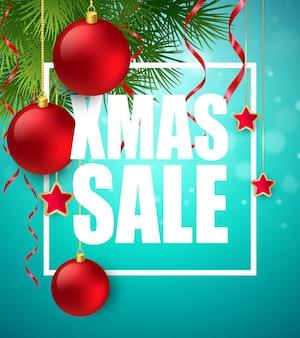 Cartel de venta de navidad con decoración navideña. ilustración de vector eps10