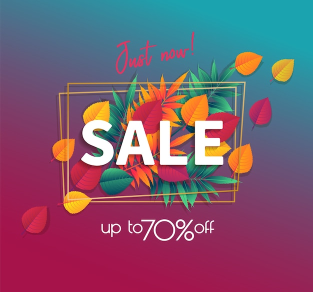 Cartel de venta de otoño con follaje otoñal brillante de arce, roble, olmo. ilustración vectorial
