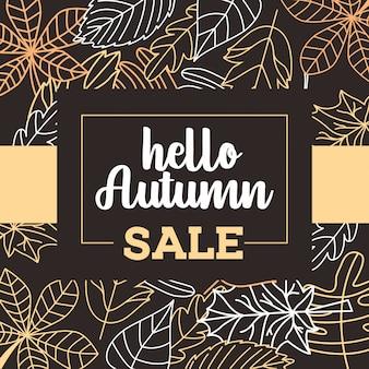 Cartel de venta otoño con hojas cayendo
